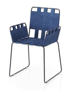 Immagine di Stripes sedia con braccioli, poltroncina in metallo