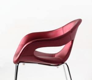Sunny fabric 4L, Comoda poltroncina imbottita, base in metallo, per uso indoor