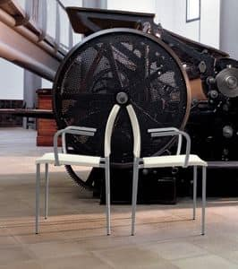 Zara P, Sedia con braccioli, in acciaio verniciato e polipropilene