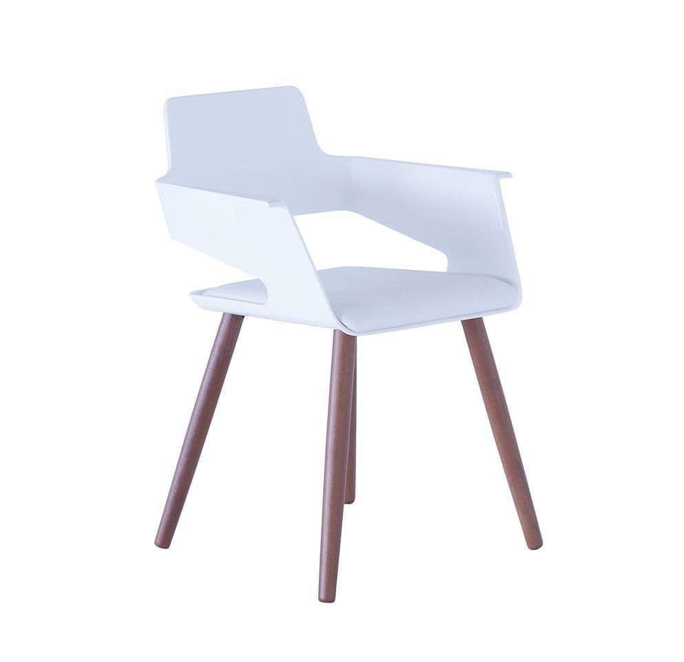Sedia moderna con scocca in plastica e gambe in legno ideale