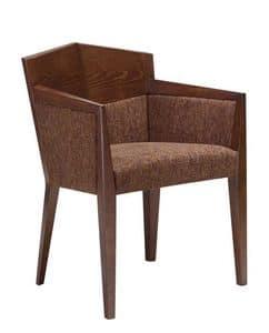 C35, Poltroncina in faggio, seduta e schienale imbottiti, ricoperti in tessuto, per ristoranti e hotel