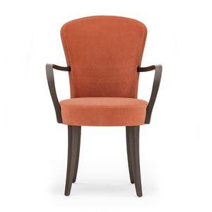 Euforia 00121, Poltroncina in legno massiccio, seduta e schienale imbottiti, rivestimento in tessuto, stile moderno