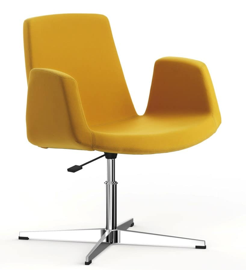 JOLLY con base a disco, Poltroncina girevole, regolabile in altezza, per sale riunioni e conferenze