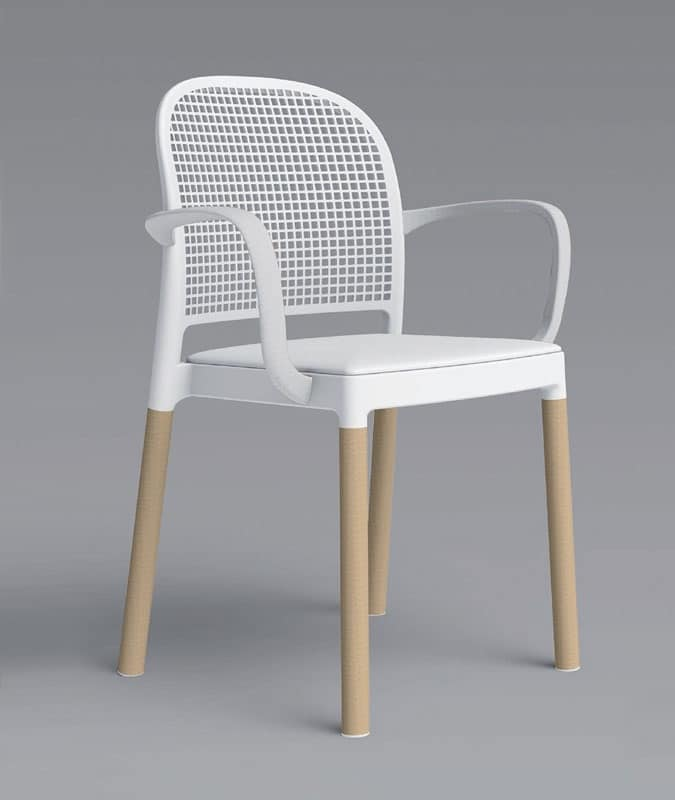 Sedute sedie moderne legno plastica con braccioli idfdesign for Sedie plastica moderne
