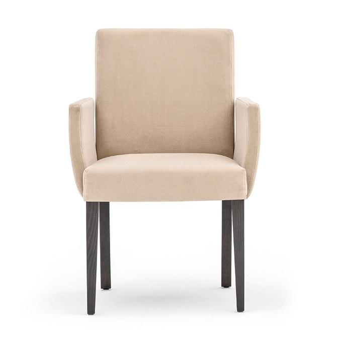 Zenith 01631, Poltroncina con struttura in legno, seduta e schienale imbottiti, per ambienti contract