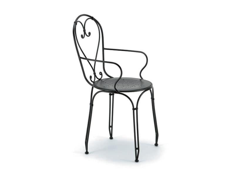 Sedia per esterni, in ferro con verniciatura zincata  IDFdesign