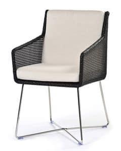 Avalon poltroncina, Poltroncina con struttura in acciaio, seduta intrecciata