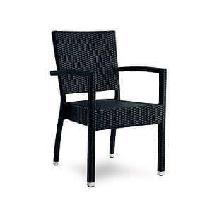 Giglio sedia con braccioli, Sedia in alluminio e rattan intrecciato, per esterni