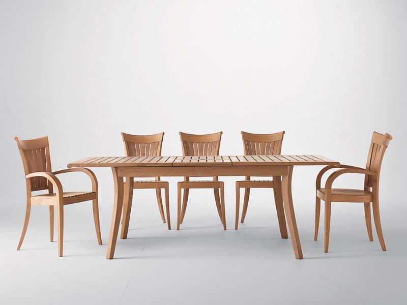 Harmony poltrona, Sedia moderna con braccioli, in legno, per giardino