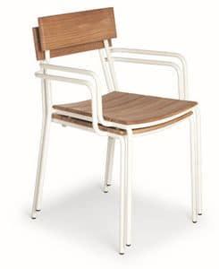 Ivy PT, Poltroncina impilabile con struttura in metallo e seduta e schienale in legno adatta per uso esterno