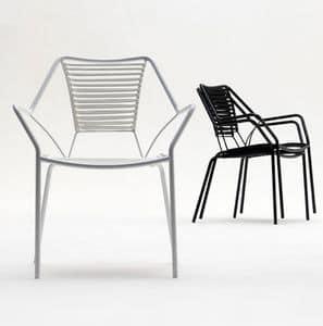 Knit Knot new armchair, Poltroncina per esterni, intreccio in corda nautica, elegante ma leggera