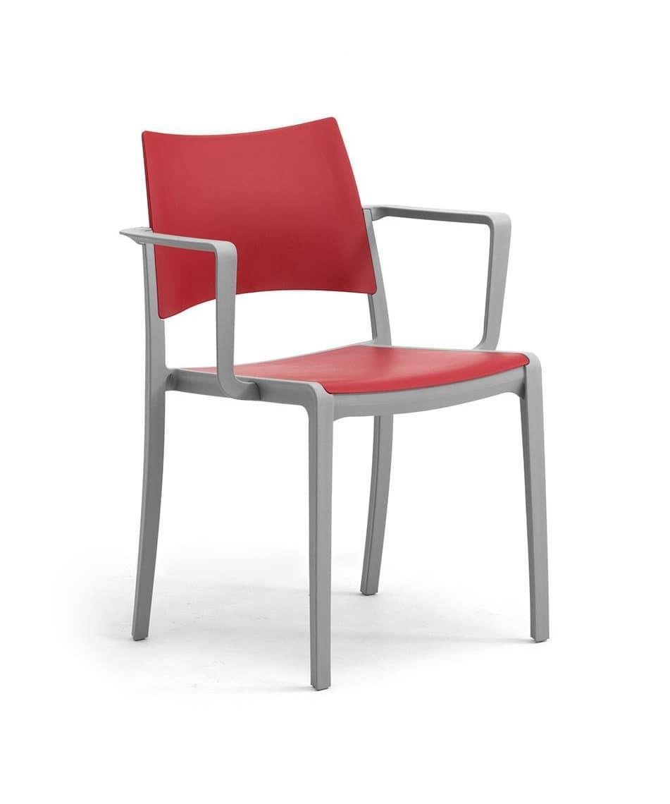 sedia impilabile con seduta e schienale in polipropilene