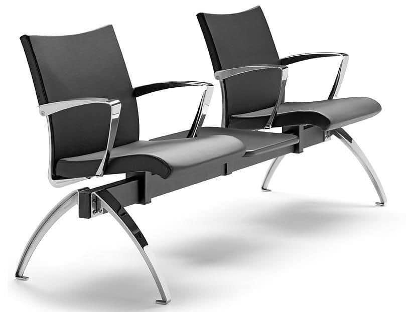 AVIA 4400B2T + OPT, Panca con 2 sedute e 1 tavolino ideale per sale attesa