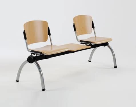 Cortina panca mobile con tavolino, Panca in metallo con sedute in multistrato, per sale attesa