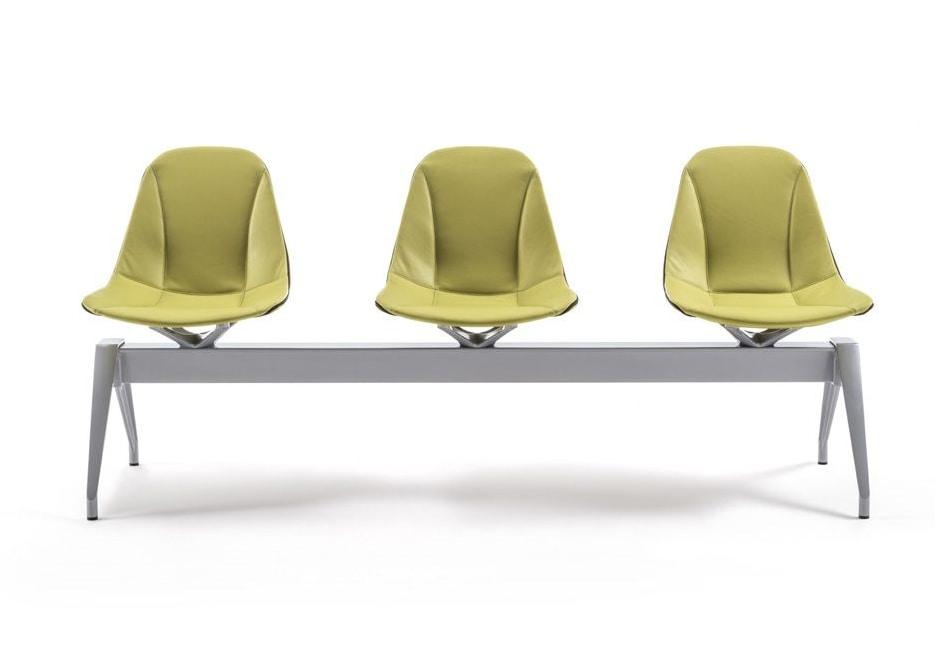 Panca Imbottita Colorata : Panca per sale attesa con sedute in cuoio idfdesign