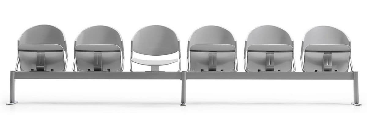 DELFI A086, Sedia su barra, seduta imbottita, per sale d'aspetto