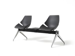 Eon panca, Seduta su barra, in alluminio e plastica, per sala attesa