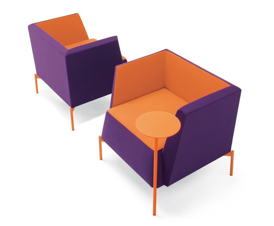 Poltrona imbottita per aree relax e attesa idfdesign for Poltrone design on line