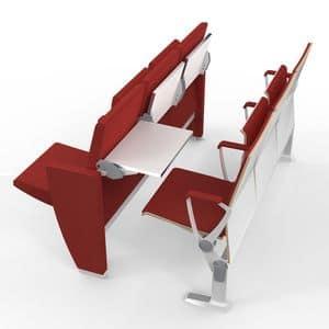 MASTER, Poltrone per aula magna ed auditorium prestigiosi, design minimale, ampio tavolino ribaltabile