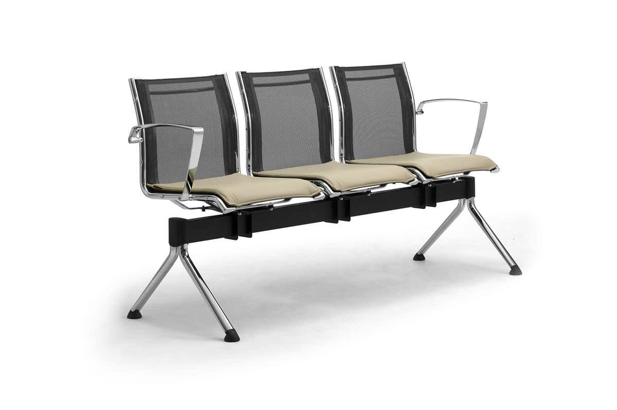 Origami RE panca con tavolino, Panca con tavolino per sale d'attesa