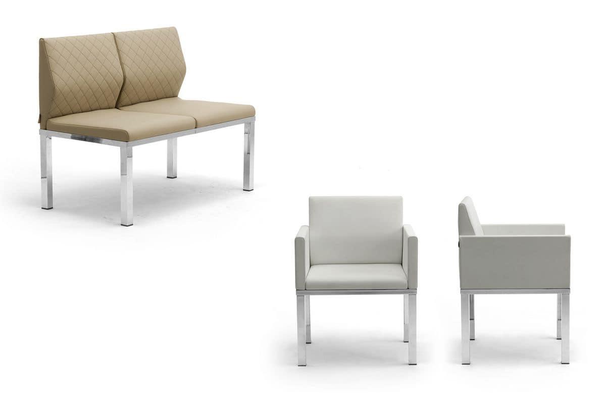 Tre-Di divanetto 2 posti con tavolino 9990310, Panca con sedute imbottite e tavolino, per sale attesa