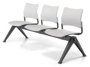 Urban Bench, Seduta su barra, telaio in acciaio, per sale attesa