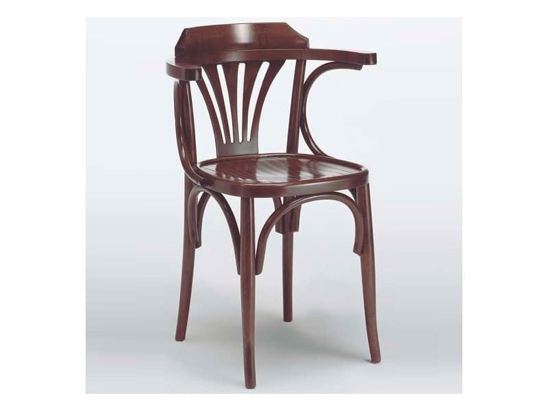 121 P, Sedia con braccioli in legno massiccio curvato, per bar