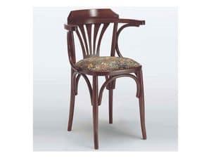 121 T, Sedia con braccioli, rustica, in legno curvo, per la casa