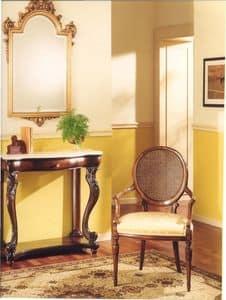 3025 POLTRONCINA, Poltroncina in legno con seduta imbottita, stile classico