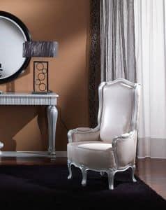 717 POLTRONCINA, Poltroncina classica per salotto, finiture a foglia argento