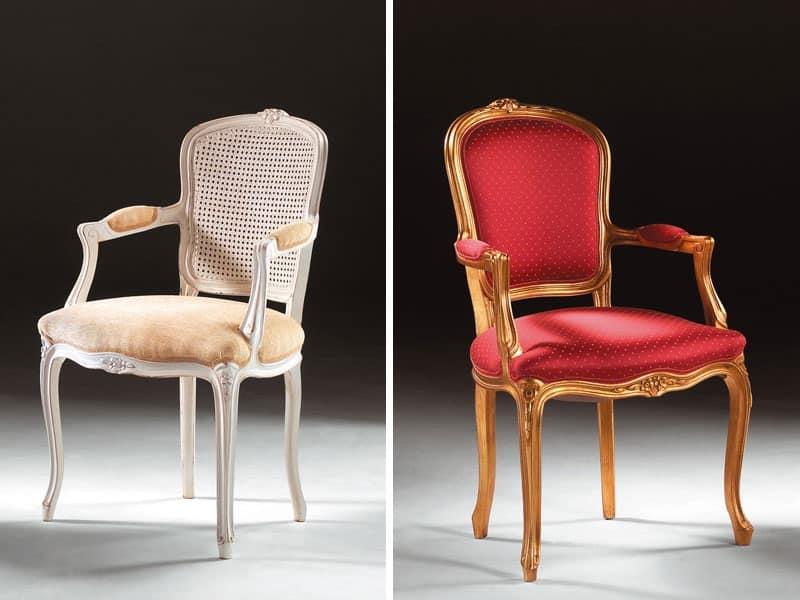 Sedia capotavola in stile classico braccioli imbottiti for Sedie imbottite grigie