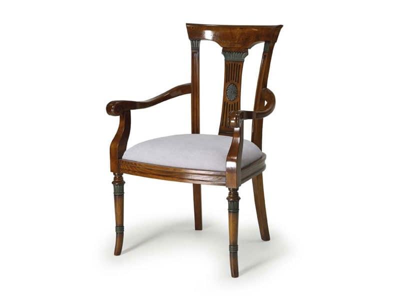 Art.187 poltrona, Poltroncina in legno con seduta imbottita, stile classico