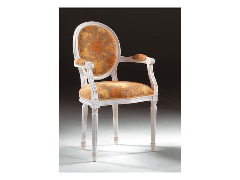 Art. 514/P, Sedia con braccioli, in stile lussuoso, braccioli imbottiti
