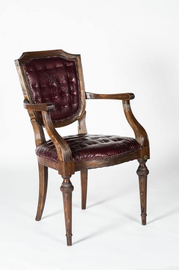 Sedia in pelle per sala da pranzo sedia classica di lusso per ristoranti idfdesign for Poltroncine in pelle