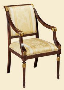 Art. 841P, Sedia con braccioli, stile classico, imbottita
