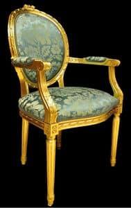Art. L-794, Sedia capotavola in legno intarsiato, seduta e schienale imbottiti, laccato oro, in stile classico