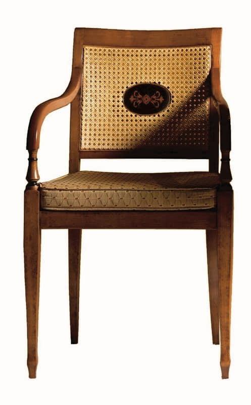 Cecilia FA.0155, Poltroncina in legno massiccio, seduta imbottita ricoperta in tessuto, schienale in rete, in stile Luigi XVI