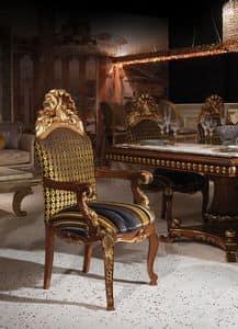Hermitage B/2071/A, Poltroncina classica di lusso con seduta e schienale imbottiti