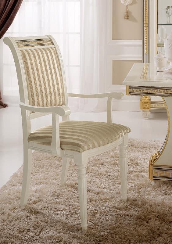 Sedia capotavolo dal design classico con preziose for Poltroncine eleganti