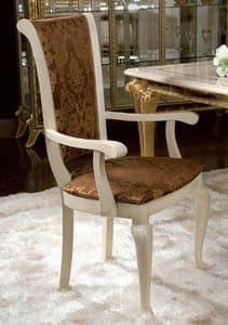 Raffaello poltroncina, Sedia classica con braccioli, rivestimento con decori floreali