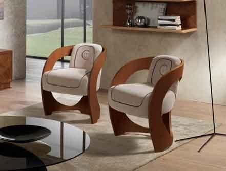 SE53 Mistral sedia, Poltroncina in noce canaletto, per salotti classici