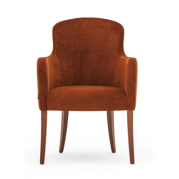Euforia 00131, Poltrona a pozzetto, in legno massiccio, seduta e schienale imbottiti, copertura in tessuto, stile moderno