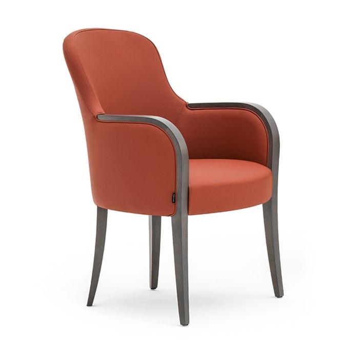 Euforia 00132, Poltrona a pozzetto, in legno massiccio, seduta e schienale imbottiti, copertura in tessuto, stile moderno