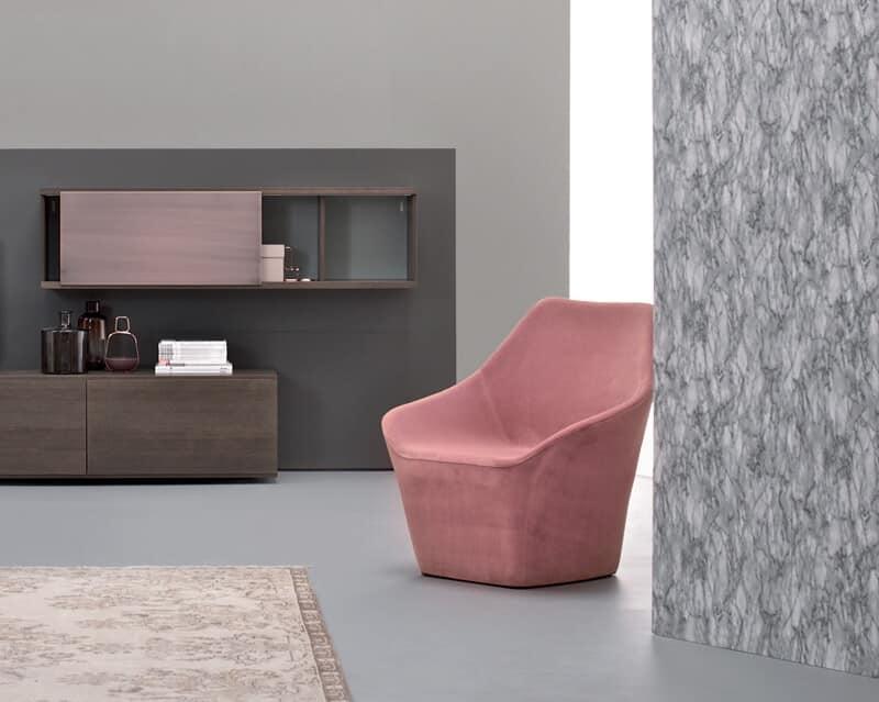 Poltrona a pozzetto rivestimento in tessuto o pelle per ambienti moderni idfdesign - Poltrone da camera moderne ...