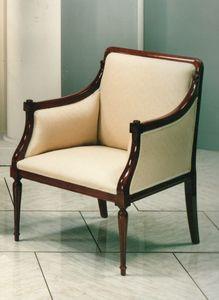 2090 POLTRONA, Poltrona classica di lusso con struttura visibile in legno