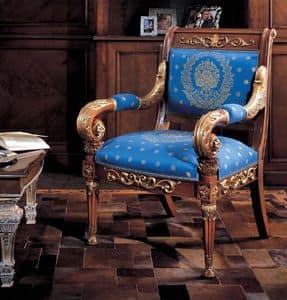 218, Poltrona intagliata in stile classico di lusso