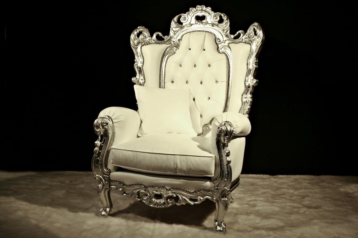 Casanova trono, Poltrona classica in pelle, stile barocco