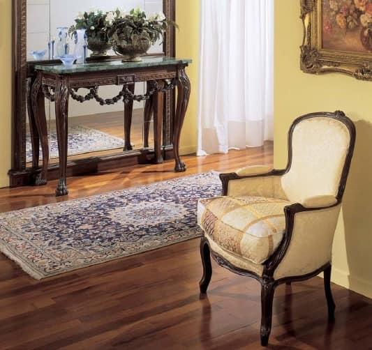 3160 POLTRONA LUIGI XV, Poltrona classica di lusso, in noce, per alberghi e ristoranti