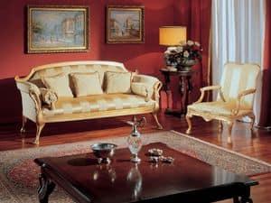3180 POLTRONA, Poltrona classica con decori dorati, per salotti di lusso