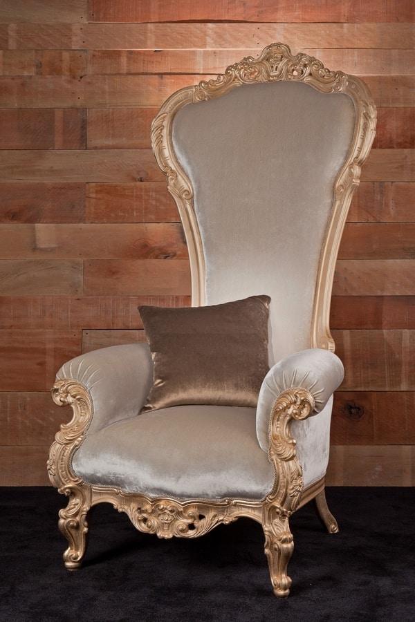 Trono Tessuto, Poltrona in stile barocco ideale per salotti e alberghi